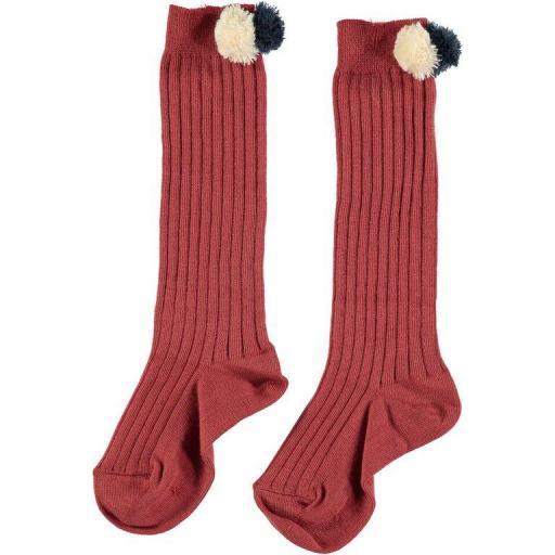 Búho calcetin alto varillado pompon color teja