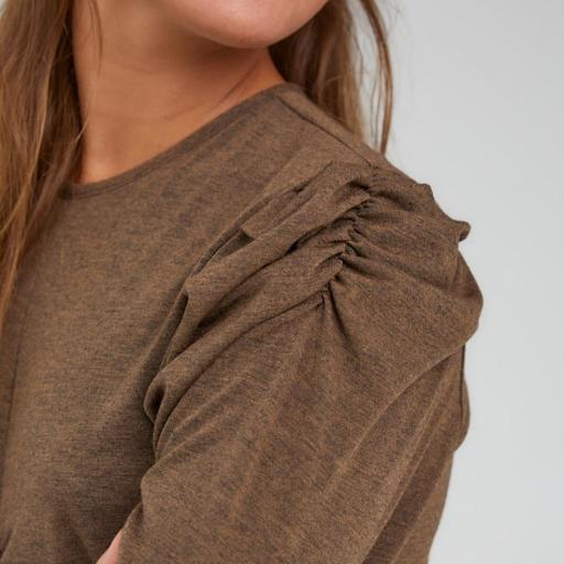 Tarantela,Camiseta marrón jaspeado gomas hombro pecho
