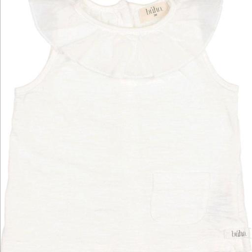 Búho,910 FRILL COLLAR T-SHIIRT WHITE, Camiseta bebe blanca cuello
