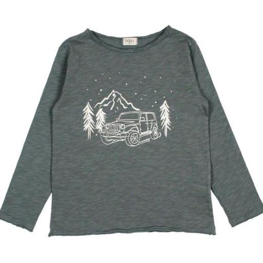 Búho,Camiseta niño Jeep azulada