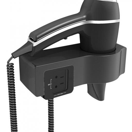Secador de pelo Alteo con soporte y toma de corriente JVD [1]