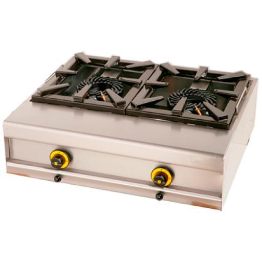 Cocina sobremesa a gas GP de 2 fogones y fondo 60cm. Worldmai COG2-WM