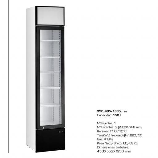 Armario refrigerado Slim Line de 150 litros CAB160 LED