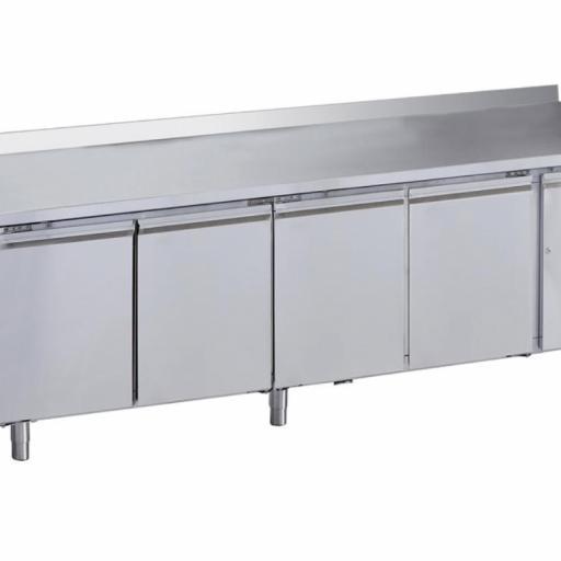 mesa fria 4 puertas acero inox