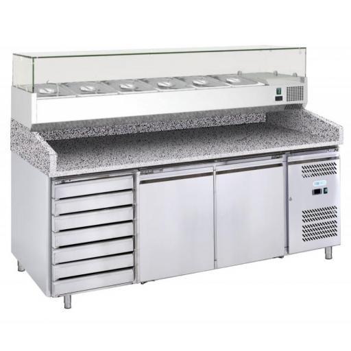mesa fria de preparación pizza