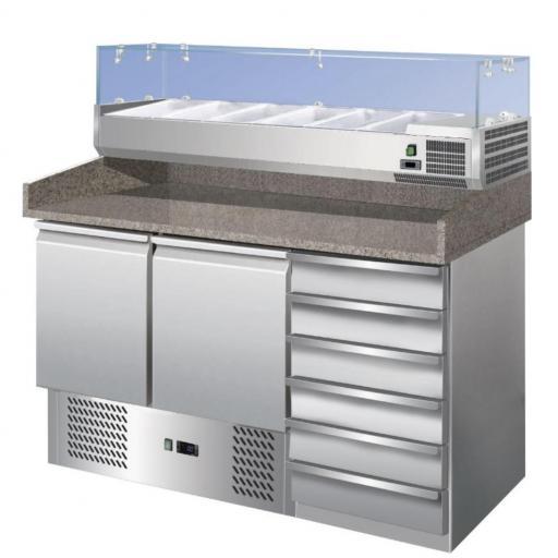 Mueble refrigerado para pizzas con 2 puertas y 6 cajones  Forcar G-S903PZCAS-FC