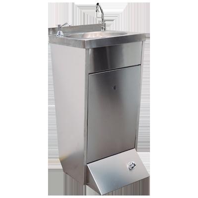Lavamanos de pie con caño giratorio con 2 pulsadores de pie y dispensador de jabón Worldmai LP02J-WM
