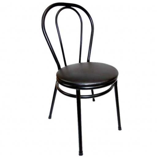 Silla Bistrot negra con asiento acolchado negro Hobeto 178084