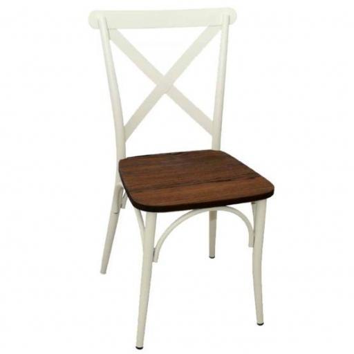 Silla Cruceta blanca asiento madera Nogal Hobeto 169527