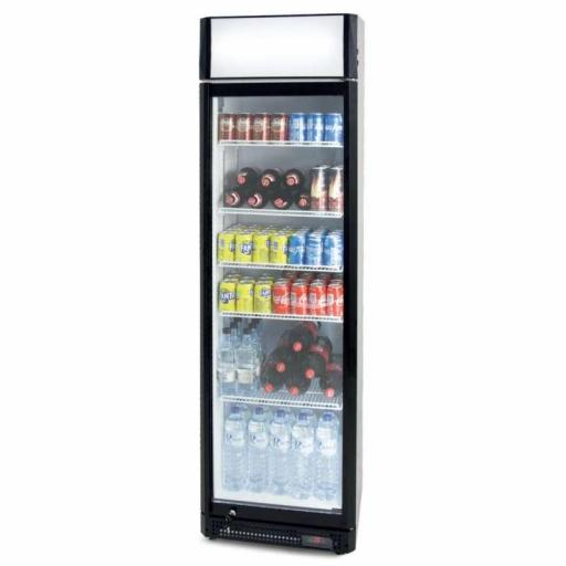 Armario expositor refrigerado 410 litros puerta de vidrio con cabezal luminoso Pekin CS410SB