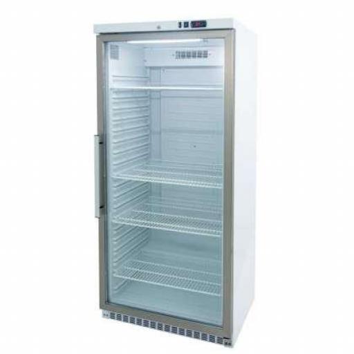 Expositor frigorífico lacado blanco y puerta de vidrio 600L. GN2/1 Línea Córdoba ARCH600V