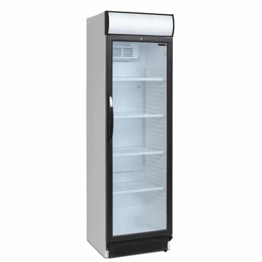 Armario refrigerado 1 puerta de cristal con cabezal luminoso Viborg CEV425CP-I