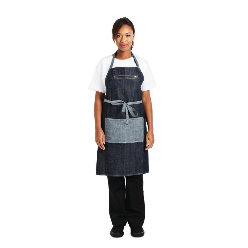 Delantal azul índigo con peto modelo Manhattan Chef Works B719