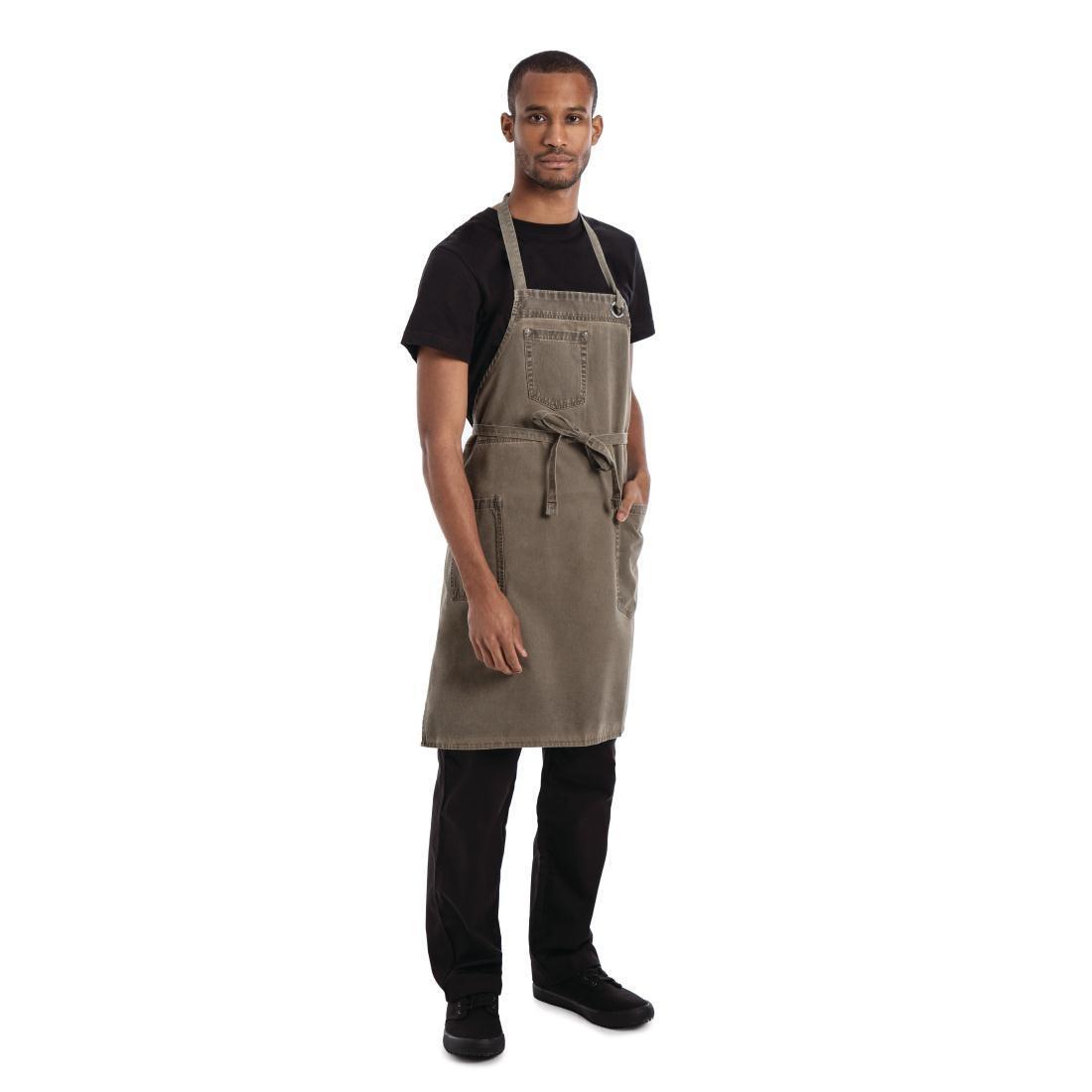 Delantal marrón con peto modelo Dorset Chef Works BB002