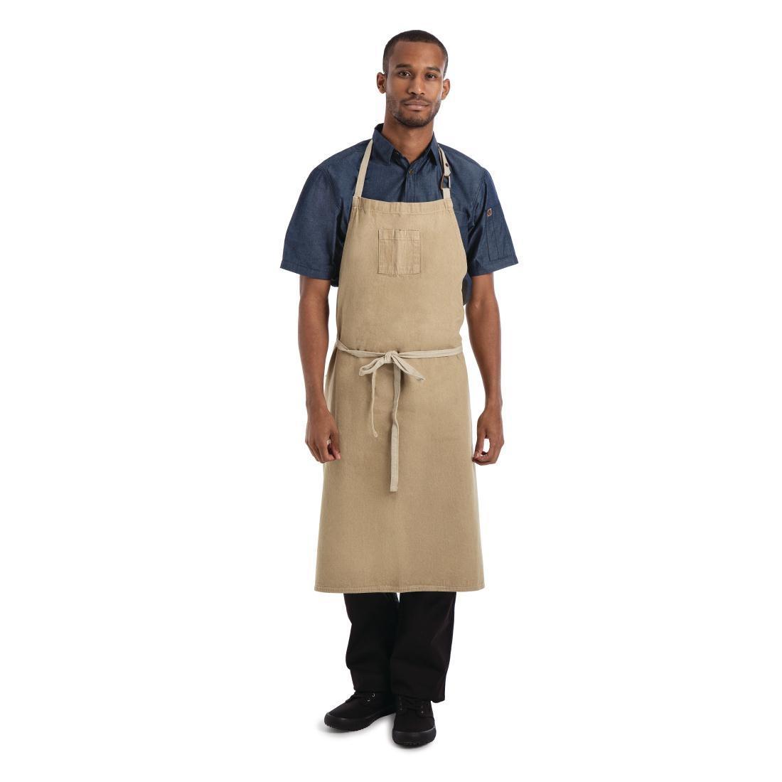 Delantal con peto color Arena unisex Chef Works Austin BB006