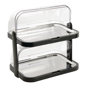 Bandeja expositora refrigeradora con fondo doble con tapa móvil CB794