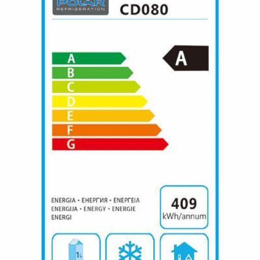Refrigerador frigorífico bajo mostrador de acero inoxidable 150L. Polar CD080 [3]