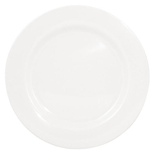 Juego de 6 platos llanos de borde ancho blancos de melamina Kristallon Olympia [1]