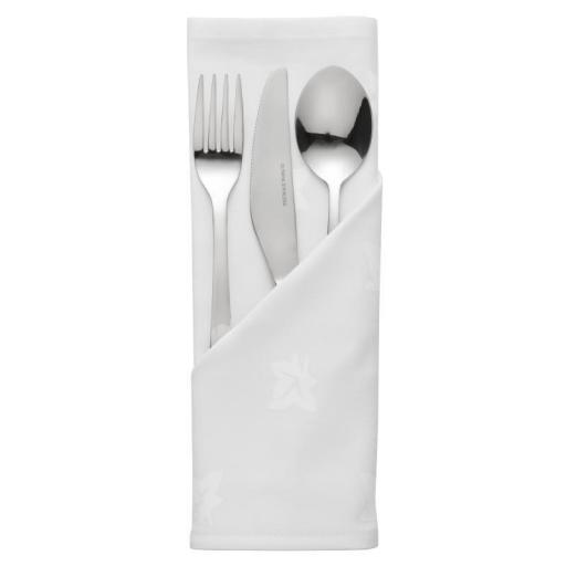 Juego de 10 servilletas blancas de algodón hiedra damasco 560x560mm CE450