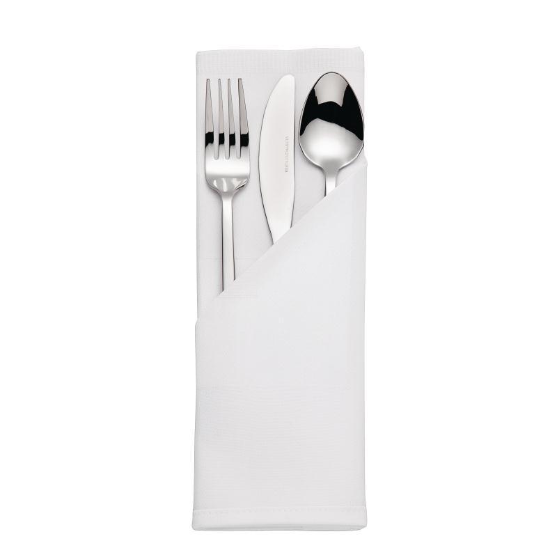 Juego de 10 servilletas blancas satinadas de poliéster hilado 56x56cm CE454