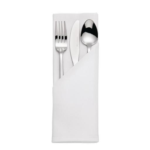 Juego de 10 servilletas blancas satinadas de poliéster hilado 56x56cm CE454 [0]