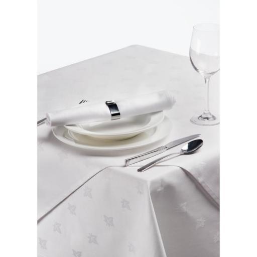 Mantel de algodón rectangular blanco con motivo de hiedra damasco