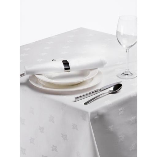 Mantel de algodón cuadrado blanco hiedra damasco [1]