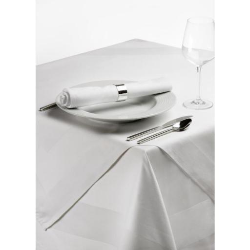 Mantel cuadrado blanco satinado de poliéster hilado [1]