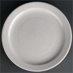 Juego de 12 platos llanos de borde estrecho Athena