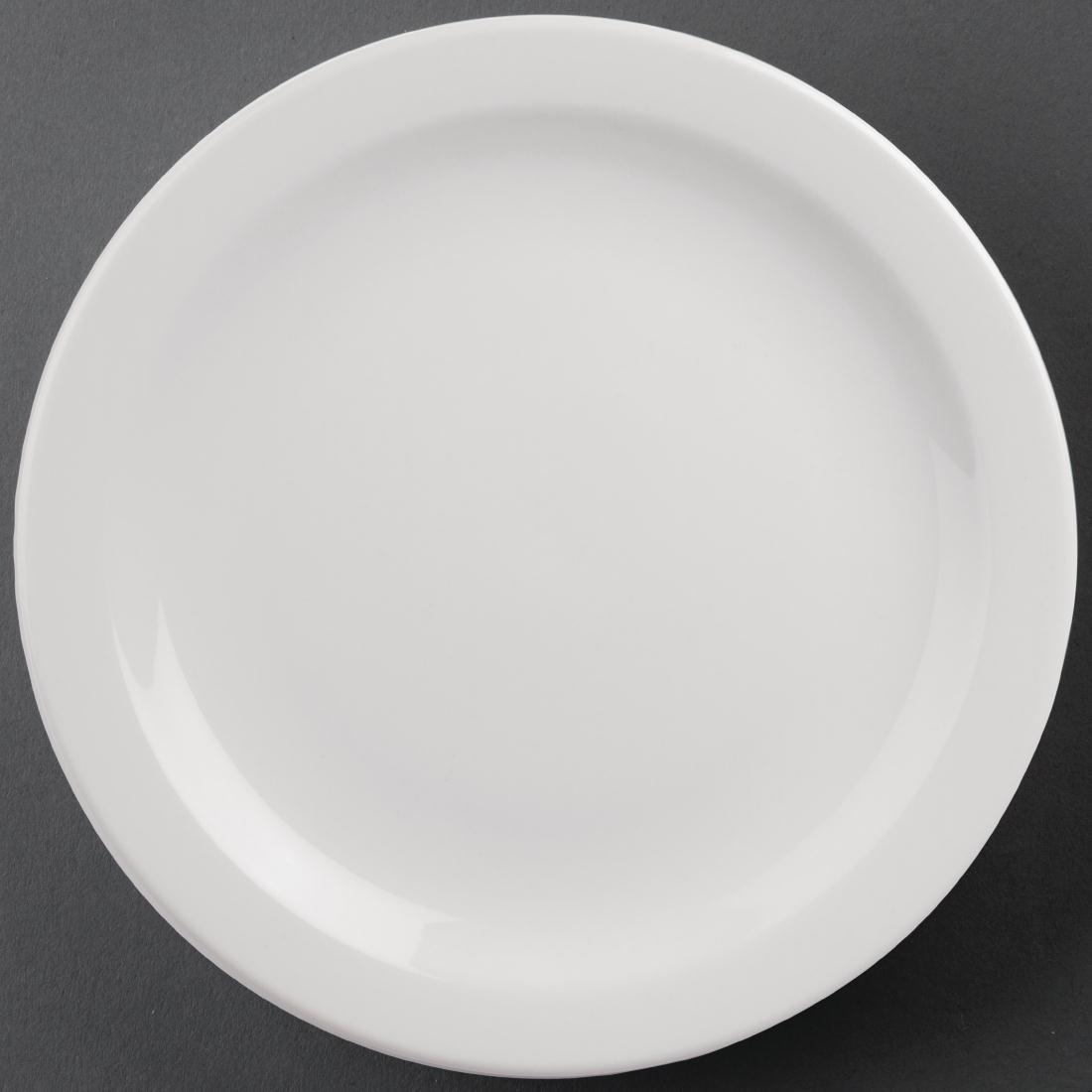Juego de 6 platos llanos de borde estrecho blancos Athena Hotelware CF365