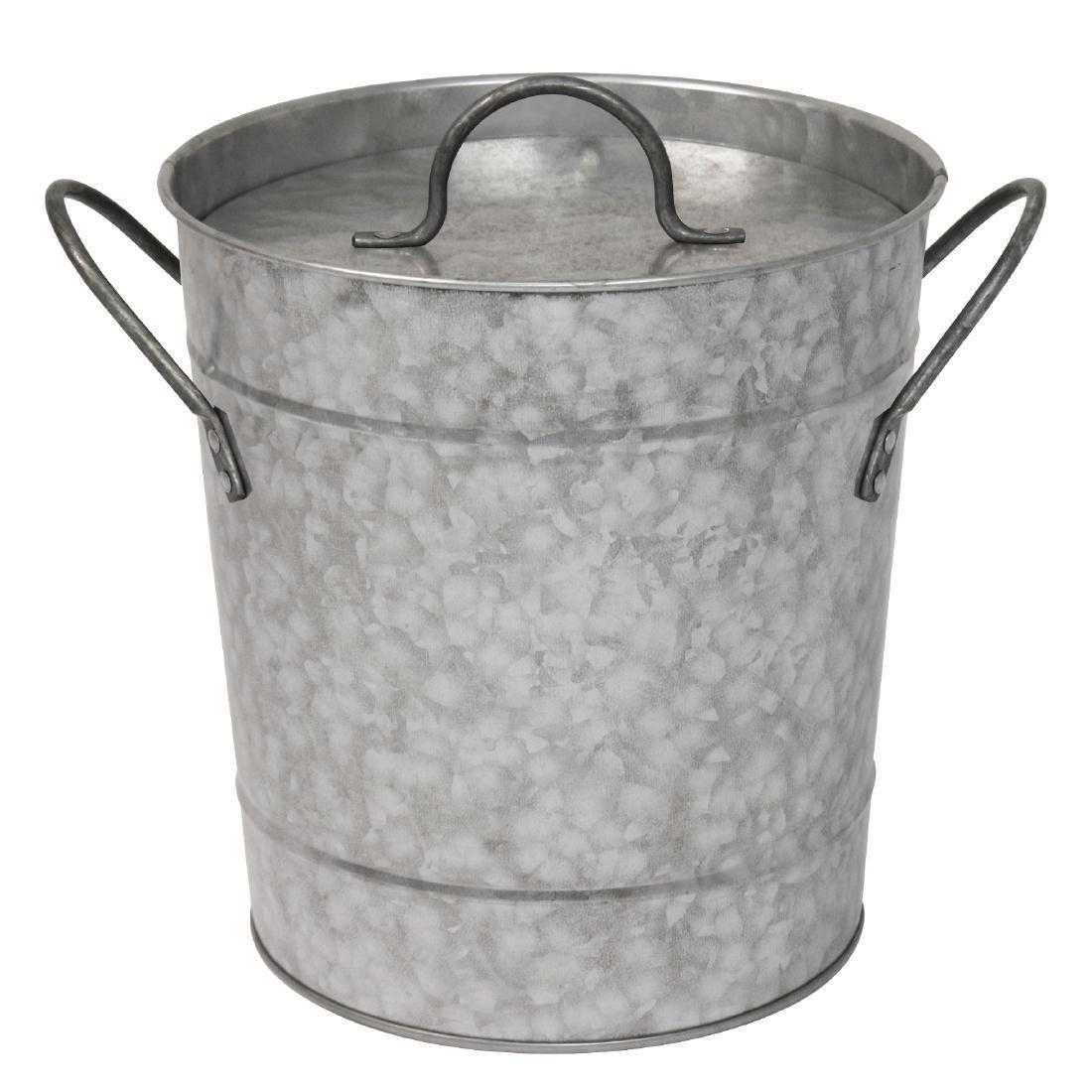 Cubitera de hielo de acero galvanizado con tapa Olympia