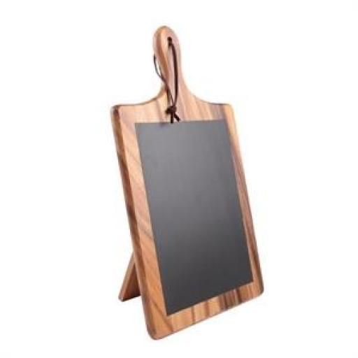 Pizarra de madera de acacia con forma de tabla de corte con soporte T&G Woodware CL485