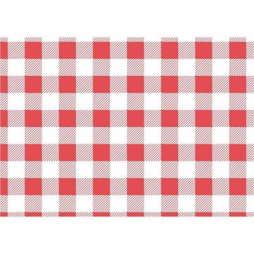 Láminas de papel anti grasa de cuadros rojos (Caja de 200)