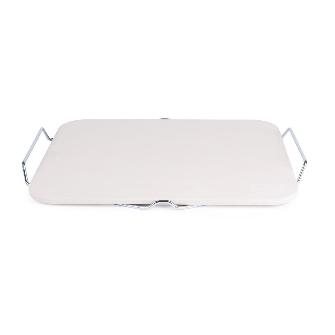 Piedra rectangular para pizza con soporte CL713