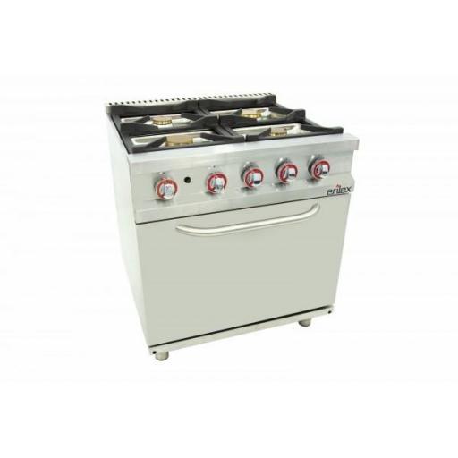 Cocina a gas de 4 fuegos con horno GN2/1 y 70cm de fondo Serie Easy Línea 700 80CG70H