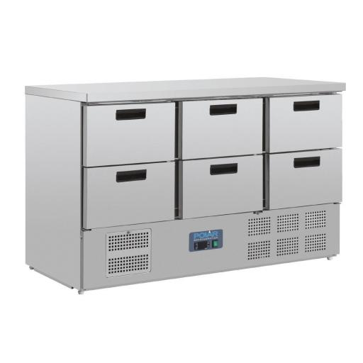Mostrador refrigerado con 6 cajones compatibles GN1/1 Polar CR711