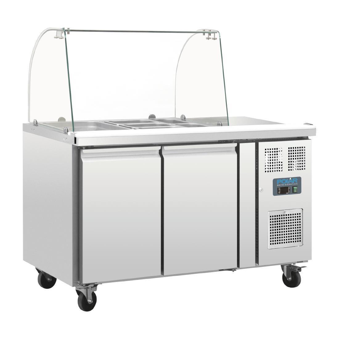 Mesa fría de preparación de 2 puertas con pantalla de cristal Polar CT393