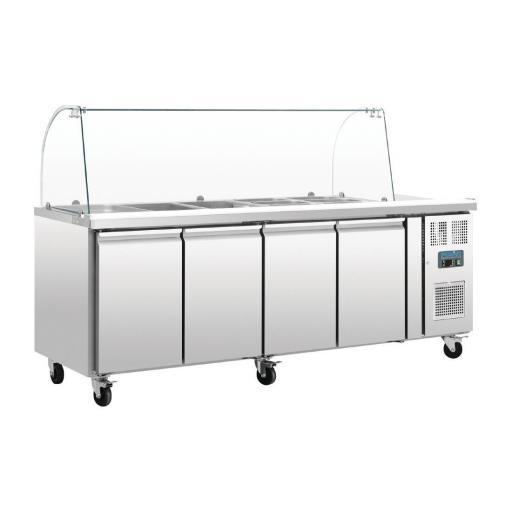 Mesa fría de preparación de 4 puertas con pantalla de cristal Polar CT395 [2]