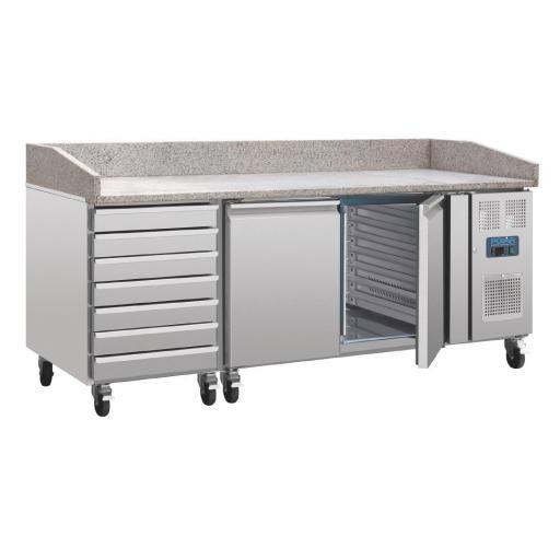 Mueble refrigerado para pizza con mesa de mármol, 2 puertas y cajones Polar CT423 [2]