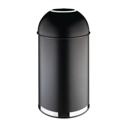 Papelera bala negra con tapa abierta 40L Bolero CW954