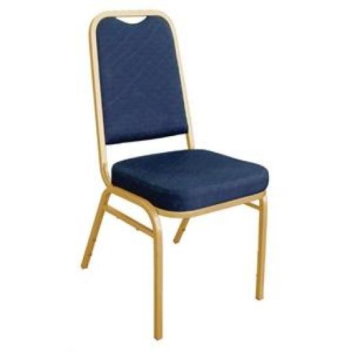 Juego de 4 sillas de banquete respaldo cuadrado tapizado liso azul Bolero DL015