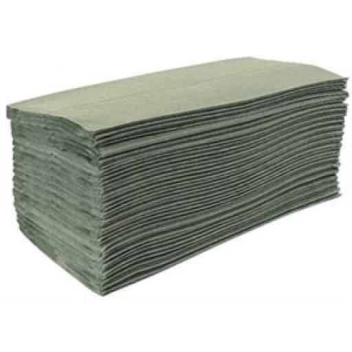 Toalla de manos plegada en C verde Jantex (Caja de 3.000 toallas) DL923