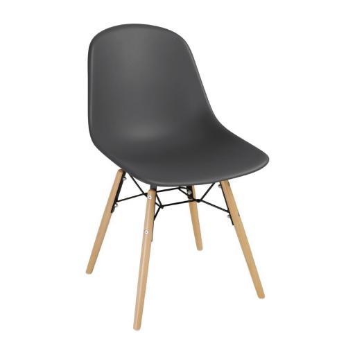 Juego de 2 sillas de diseño para hostelería Bolero color Carbón DM841