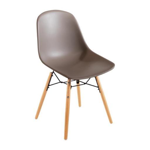 Juego de 2 sillas de diseño para hostelería Bolero color Café DM842