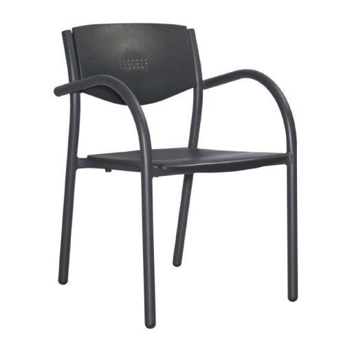 Juego de 8 sillas de terraza de aluminio y polipropileno apilables Orlando [1]