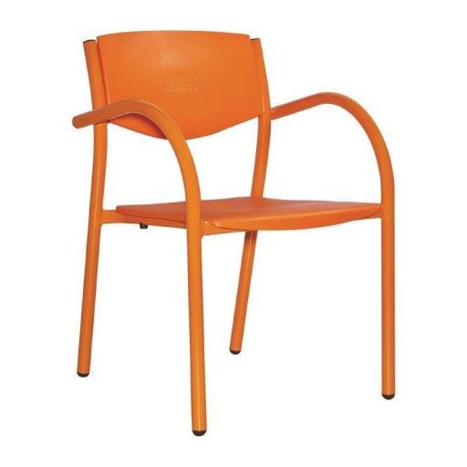 Juego de 8 sillas de terraza de aluminio y polipropileno apilables Orlando [2]