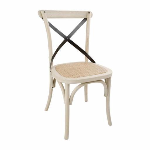 Juego de 2 sillas de madera color arena con respaldo de metal en cruz Bolero DR306