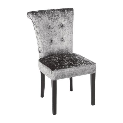 Juego de 2 sillas de terciopelo gris para comedor Bolero DR308
