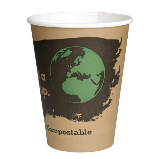 Caja de 1.000 vasos compostables para bebidas calientes de 225ml Fiesta Green DS056
