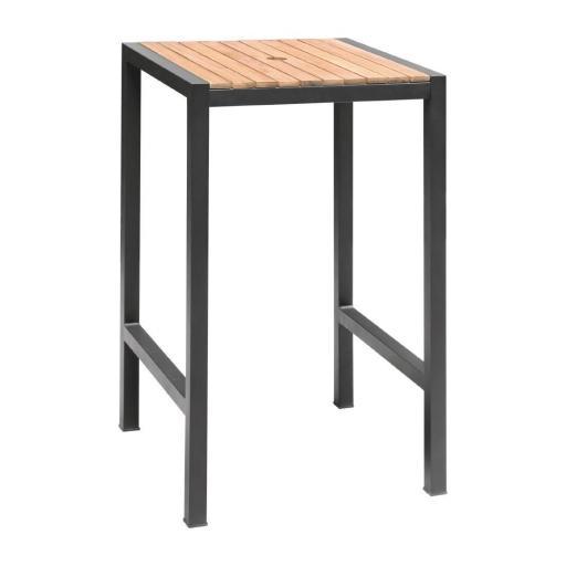 Mesa alta cuadrada 60x60cm de acero y madera Bolero DS155